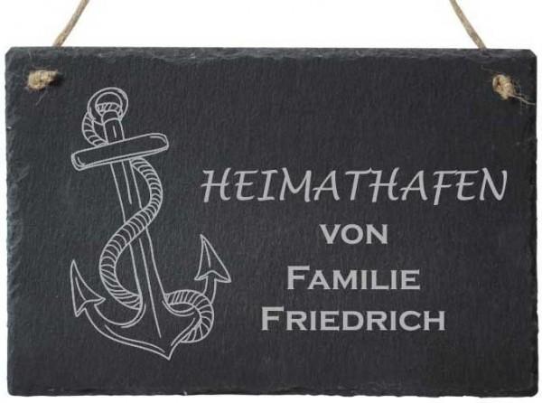 Türschild Schiefer mit Deinem Familiennamen Heimathafen
