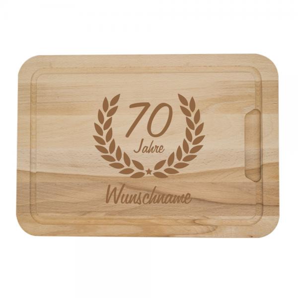 Personalisiertes Schneidebrett zum 70. Geburtstag -Ehrenranke