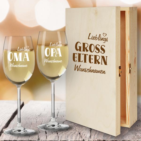 Geschenkbox Weißweingläser von Leonardo mit Gravur Lieblings-Großeltern
