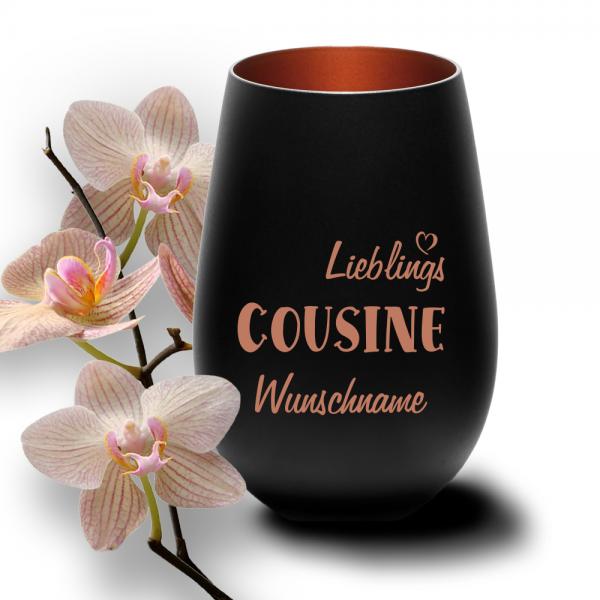 Windlicht Lieblings-Cousine mit Wunschnamen schwarz-bronze