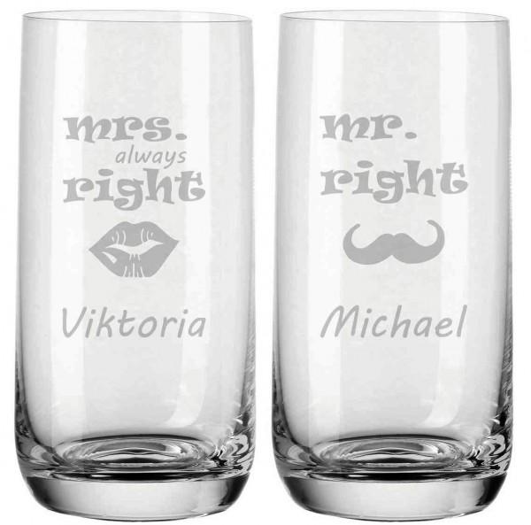 Trinkgläser von Leonardo mit deiner Wunschgravur - Mrs. und Mr. Right