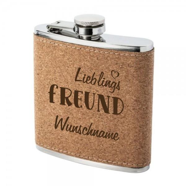 Flachmann Kork mit Gravur Lieblings-Freund und Wunschnamen