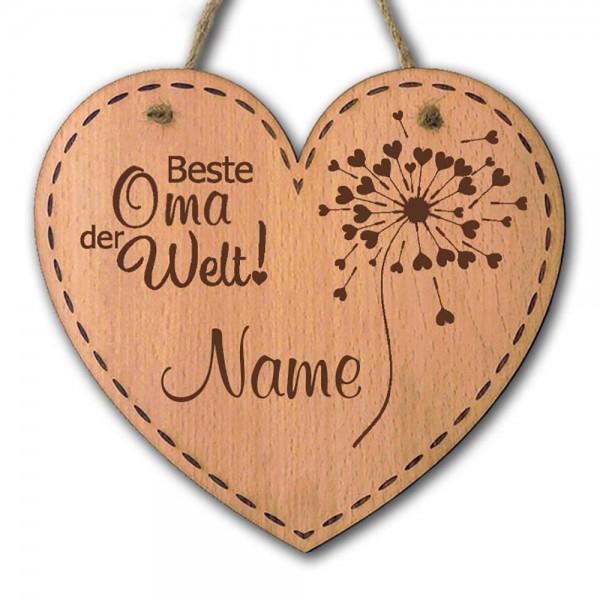 Holz-Dekoration Herz mit Gravur Beste Oma