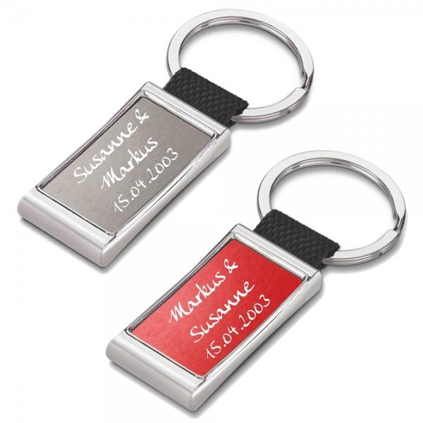 Partner-Schlüsselanhänger mit Gravur grau/rot