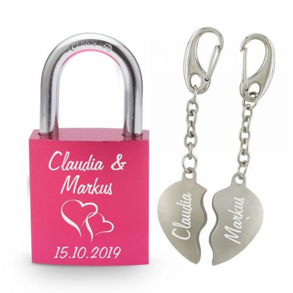 Partner-Set Liebesschloss pink+ geteilte Herzen mit Gravur