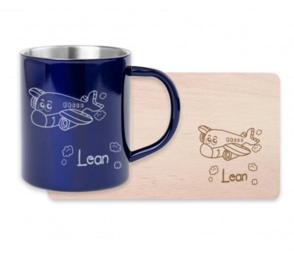 Frühstücksset für Kinder mit deiner Wunschgravur - Flugzeug