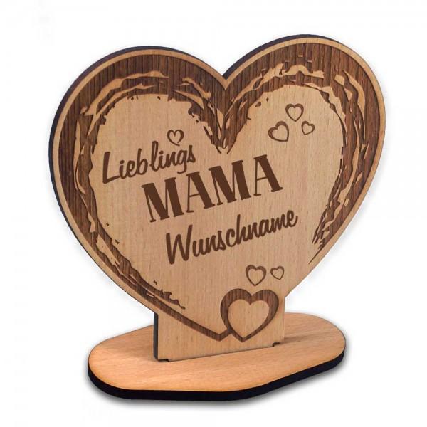 Holz-Aufsteller in Herzform mit Gravur Lieblings-Mama