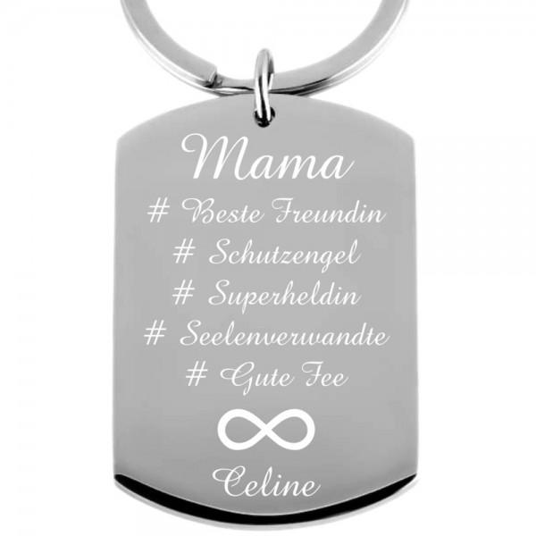 Edelstahl-Schlüsselanhänger mit Gravur Hashtag Mama