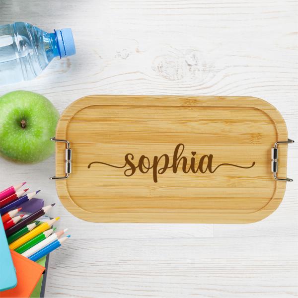 personalisierte Brotdose Lunchbox Metall mit Holzdeckel Namen - Elegant