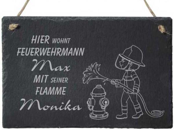 Türschild Schiefer mit Deinem Namen -Feuerwehr