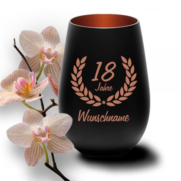 Windlicht zum 18. Geburtstag mit Deinem Wunschnamen schwarz-bronze