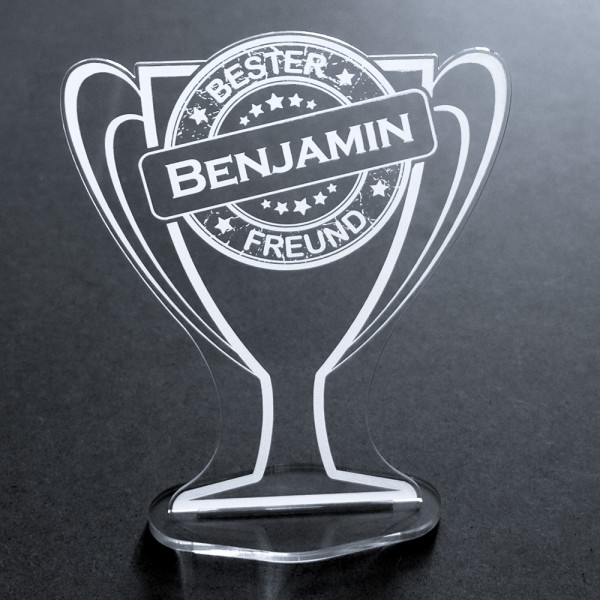 "Acryl-Pokal mit Namensgravur ""Bester Freund"""