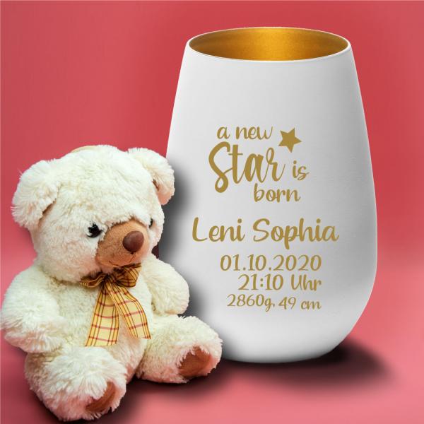 Personalisiertes Windlicht zur Geburt - a new star is born
