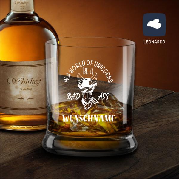 Whisky-Glas Leonardo mit Deinem Wunschnamen - Bad Ass