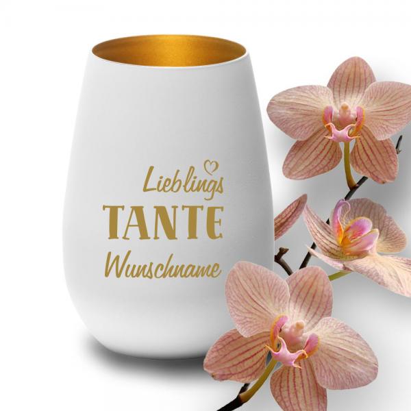 """Deko-Windlicht """"Lieblings-Tante"""" mit Wunschnamen in weiss-gold"""