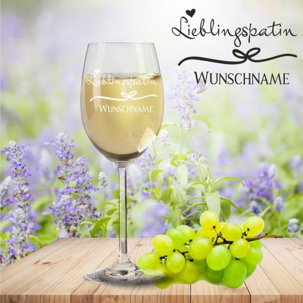 Weißweinglas von Leonardo Lieblingspatin mit Namensgravur