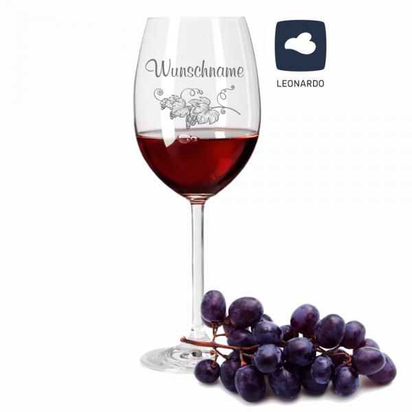 Rotweinglas Leonardo mit Weinrebe und Deinem Wunschnamen