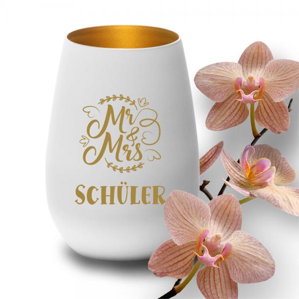 personalisiertes Windlicht mit Gravur Mr. & Mrs. zur Hochzeit weiss-gold