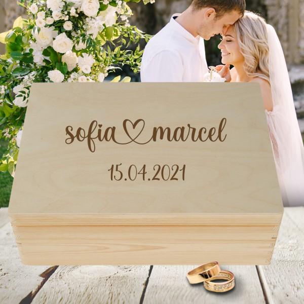 Personalisierte Erinnerungsbox Hochzeit elegant mit Wunschgravur