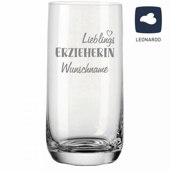 Trinkglas Lieblings-Erzieherin mit Deinem Wunschnamen