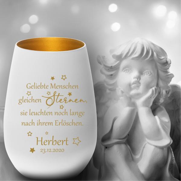 Personalisiertes Glas-Windlicht Erinnerungslicht Geliebte Menschen
