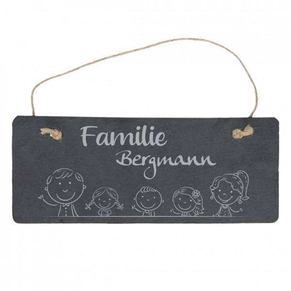 Türschild aus Schiefer mit Deinen Wunschnamen - Familie mit Kindern