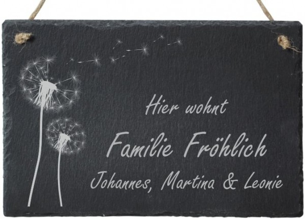 Haustürschild Schiefer mit Namensgravur Pusteblume