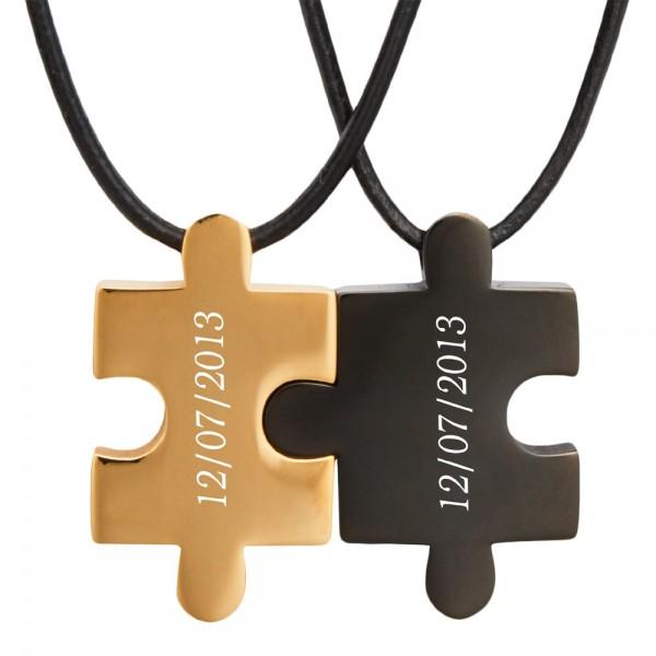 Partner-Anhänger Puzzle mit Gravur gold schwarz