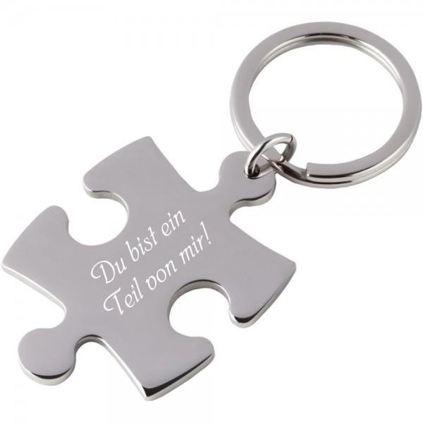 Edelstahl-Schlüsselanhänger mit Gravur Puzzle silber