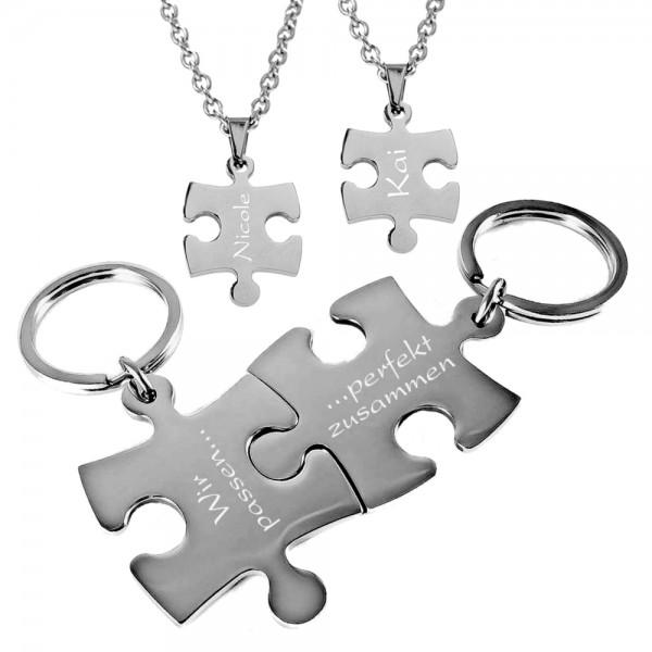 Trendgravur Partner-Set Puzzle Edelstahl 4tlg