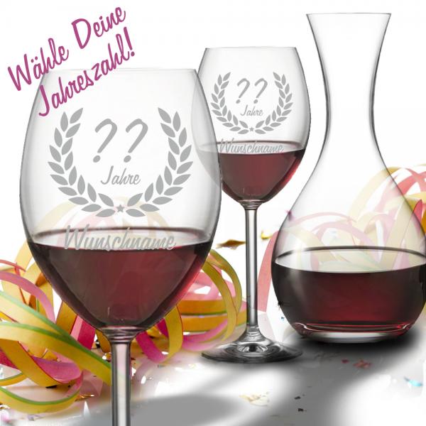 Personalisiertes Geschenk-Set Rotwein mit Dekanter zum Geburtstag - Wunschjahr