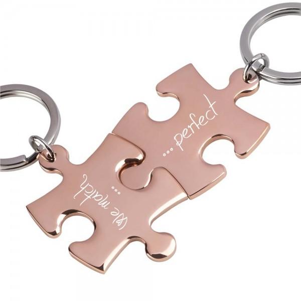 Trendgravur Partner-Schlüsselanhänger mit Gravur Puzzle rosegold