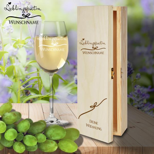 Geschenk Box und Weißweinglas von Leonardo Lieblingspatin mit Namensgravur