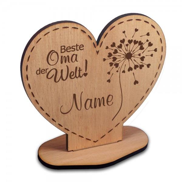 Holz-Aufsteller Herz Beste Oma- Pusteblume