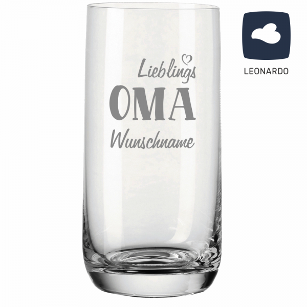 Trinkglas Lieblings-Oma mit Deinem Wunschnamen