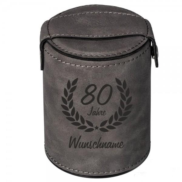 Würfelbecher zum 80. Geburtstag -Wunschname