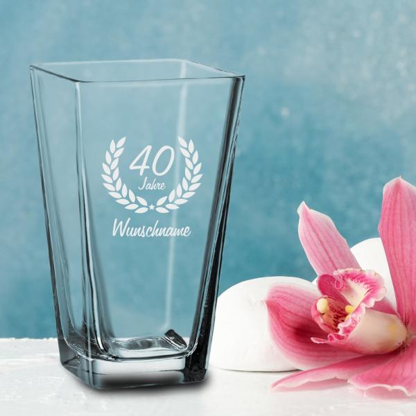 Vase zum 40. Geburtstag - Dein Wunschname