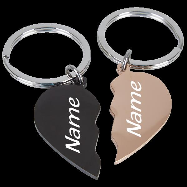 Edelstahl-Schlüsselanhänger geteilte Herzen schwarz-rosegold