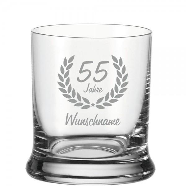 Whisky-Glas mit Namensgravur zum 55. Geburtstag