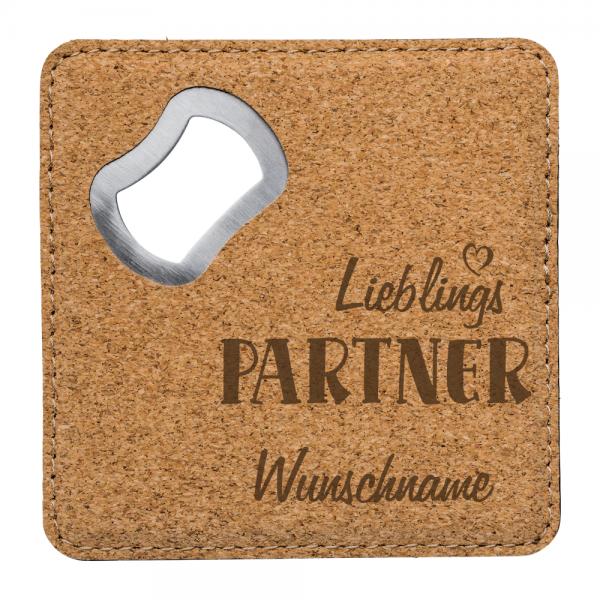 Kork-Flaschenöffner mit Gravur Lieblings-Partner