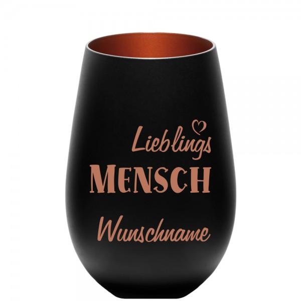 """Deko-Windlicht """"Lieblings-Mensch"""" mit Wunschnamen schwarz-bronze"""
