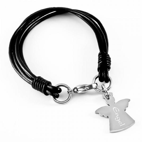 Trendgravur Leder-Armband mit Gravur Schutz-Engel