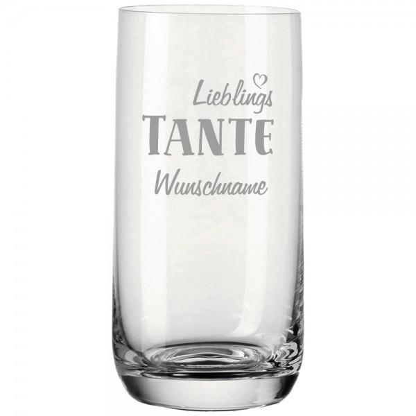 Trinkglas mit Gravur von Leonardo Lieblings-Tante