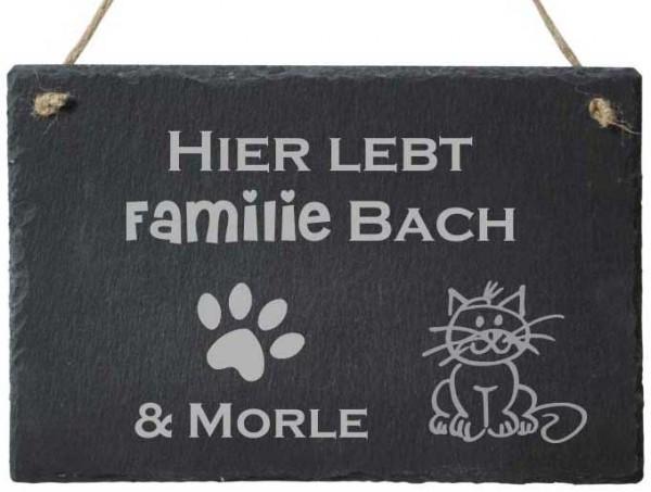 Türschild aus Schiefer mit Deinem Wunschnamen Familie & Katze
