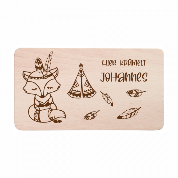 Kinder-Frühstücksbrettchen Fuchs mit Wunschnamen