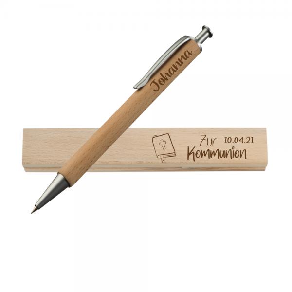 Holz-Kugelschreiber + Wunschname zur Kommunion Gesangbuch