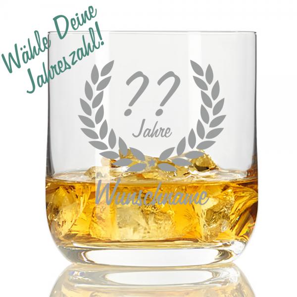 personalisiertes Whisky-Glas mit Namensgravur zum Geburtstag Dein Wunschjahr
