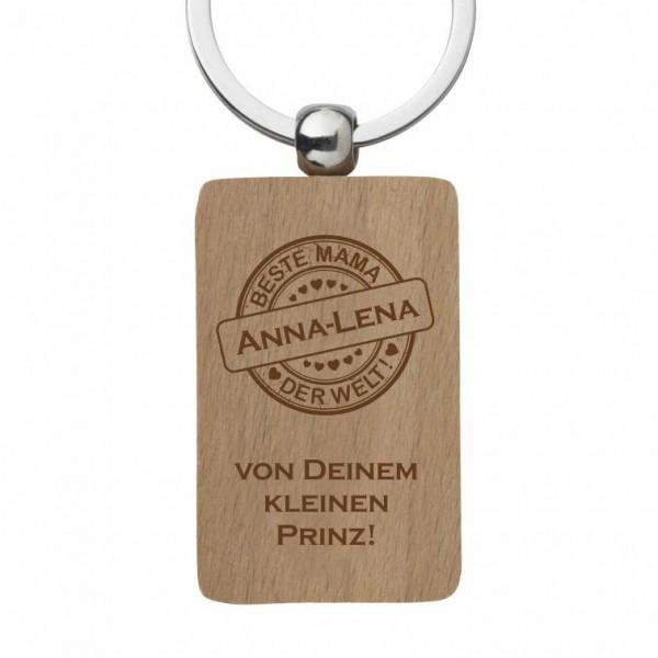 Holz-Schlüsselanhänger Button Beste Mama der Welt