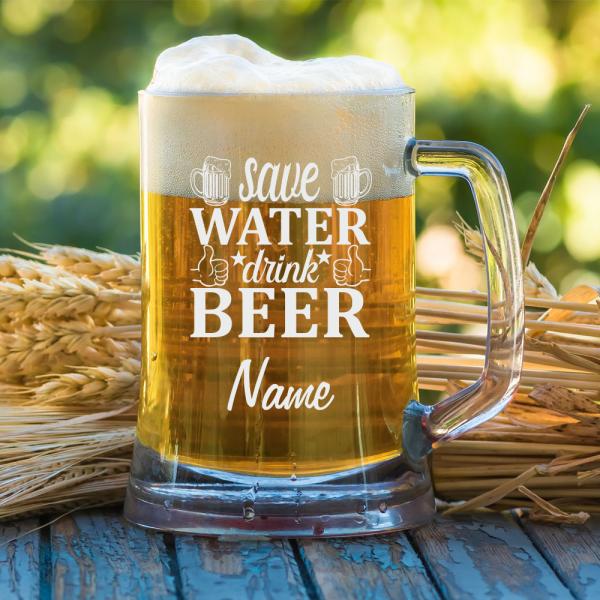 Bierkrug 0,5 l mit Schriftzug Save Water - Drink Beer