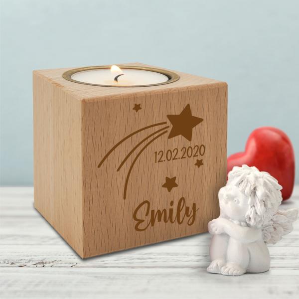 Teelichthalter Kerzenwürfel Sternschnuppe